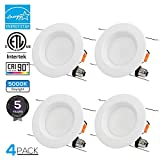 TORCHSTAR 4 Pack 15W 5-6 inch LED Retrofit Lighting Fixture, Baffle Trim, CRI90+, 90W Equiv, ETL & Energy Star Certified, Dimmable, 1250lm LED Recessed Ceiling Light, 5000K Daylight, 5 Years Warranty