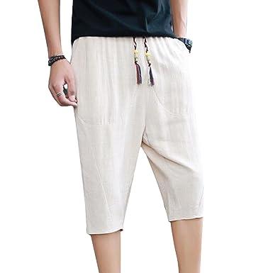9a294bc5adea Haremshose für Herren Männer Bequem Elastische Taille Leinenhose mit  Taschen Mode Reine Farben 3 4