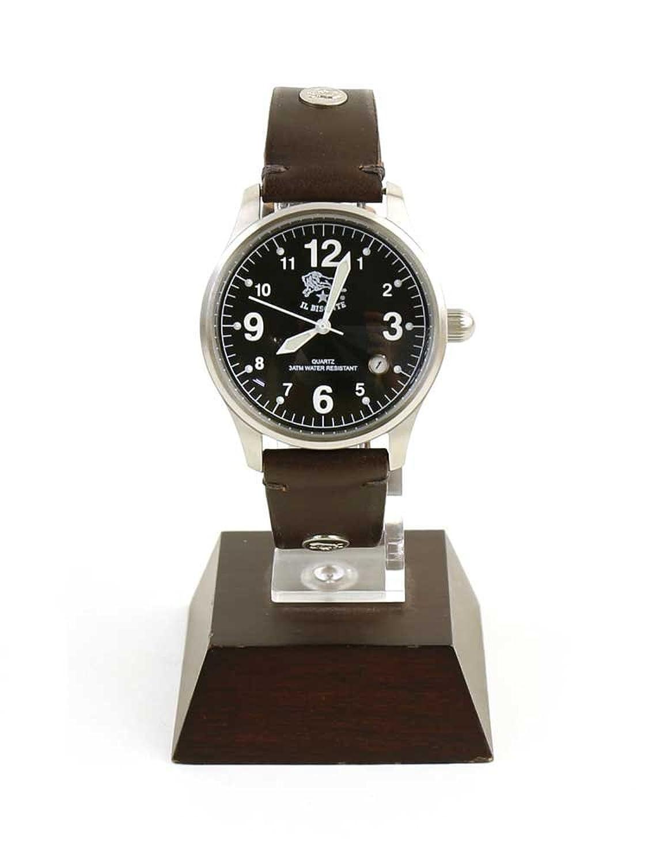 (イルビゾンテ) IL BISONTEレザー型押しレザーカレンダー付きクォーツ式腕時計リストウォッチ(S)5422310397-A006 B01GPMZN6W  ブラック×ダークブラウン(99-32) F(フリー)