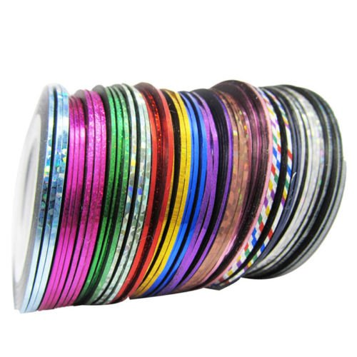 Nail Art Sticker Line - SODIAL(R)32Pcs Mixed Colors Rolls Striping Tape Line Nail Art Tips Decoration Sticker SHOMAT11569