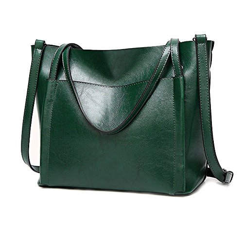 Large Brown Ladies Green Work Bags Shoulder Soft Capacity Totes Handbags Women Leather Flada for PU Shopping pAqxgdgwf
