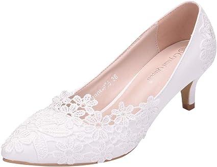 Midress Ladies White Lace Flower Short