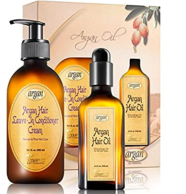 Hair Styling Anti Frizz Argan Kit - Normal to Thick Hair Care - Moroccan Leave In Conditioner Cream 10.1 oz and Hair Oil 3.4 oz Frizzy Hair Volume Control Moisturizing Set