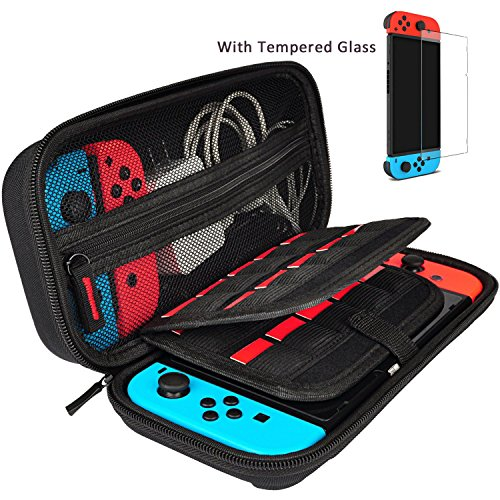 Hestia Goods Case and Tempered Glass Screen Protector for Nintendo Switch – Deluxe Hard Shell Travel Carrying Case, Hard Pouch Case for Nintendo Switch Console & Accessories, Black