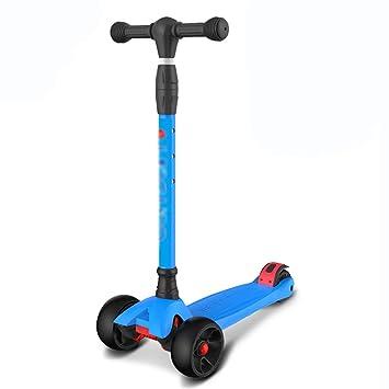 Patinetes Scooter De Acrobacias De Tres Ruedas Autoequilibrio Plegable Clásicos Pedal con Mango En T Ajustable 3 Ruedas De LED (Color : Wide Wheel-Blue): ...
