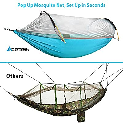 Camping Hammock with Mosquito Bug Net Tent, Ace Teah Outdoors Travel Mosquito Net Hammock with Tree Straps Easy to Set up Portable Swing Sleeping Hammock Bed for Hiking Backpacking Backyard