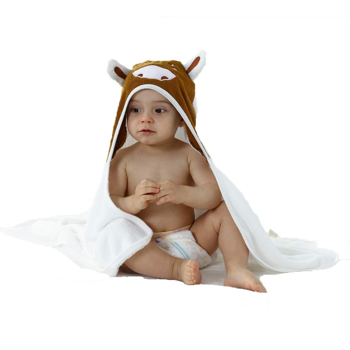 Premium 100% Organic Bamboo Baby Hooded Towel with Washcloth Gift Included Ultrasoft - Generously Sized - Super Absorbent - Antibacterial - Hypoallergenic by LOU&MAX
