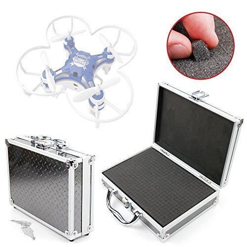 DURAGADGET Protective Silver Aluminium Flight Case With Shock Absorbing D I Y Customizable Foam Interior Compatible with FQ777-124 Pocket Drone