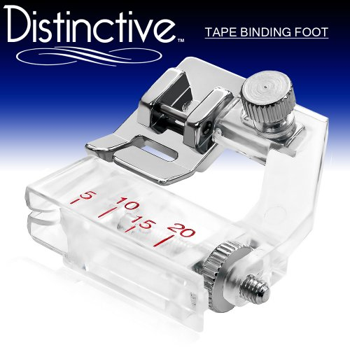 Distinctive Tape Binding Sewing Machine Presser Foot - Fits All Low Shank Snap-On Singer, Brother, Babylock, Euro-Pro, Janome, Kenmore, White, Juki, New Home, Simplicity, Elna and More!