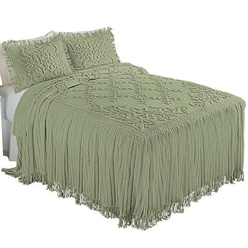 Romantic Floral Lattice Chenille Lightweight Bedspread wi...