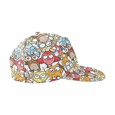 InterestPrint Unisex Hip Hop Outdoor Sport Snapback Hats Cartoon Owls on White Background