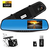 THINK SOGOOD 4.3 LCD HD 1080P Car Video Camera | Driving Recorder with Dual Lens for Vehicles Front & Rear View Mirror | Dash Cam with 170° Wide Angle Lens and 8G Micro SD Card