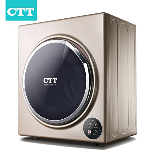 CTT 13 Lbs. Capacity/3.5 Cu.Ft. Intelligent Compact Portable Tumble Clothes Laundry Dryer, Intelligent Humidity Sensor- Gold