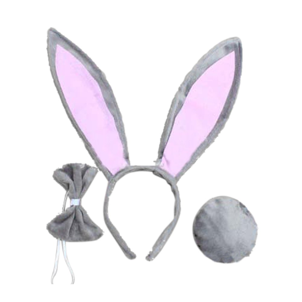 SZTARA Cute Rabbit Ears Tail and Bow Tie Party Costume kit Plush Bunny Halloween Costume kit