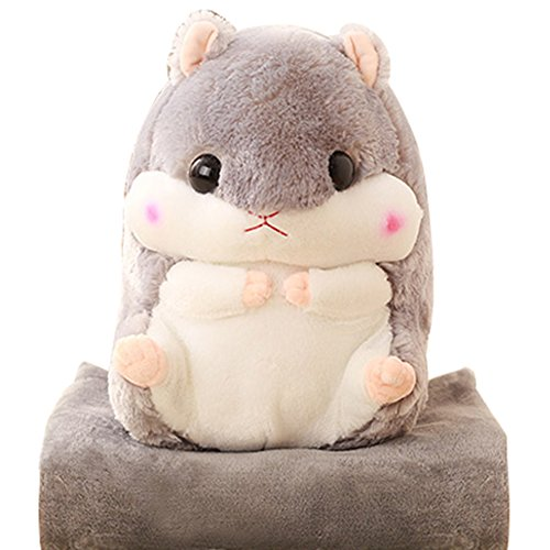 Kosbon 2 In 1 Cute Hamster Plush Stuffed Animal Toys Throw Pillow Blanket Set   Grey