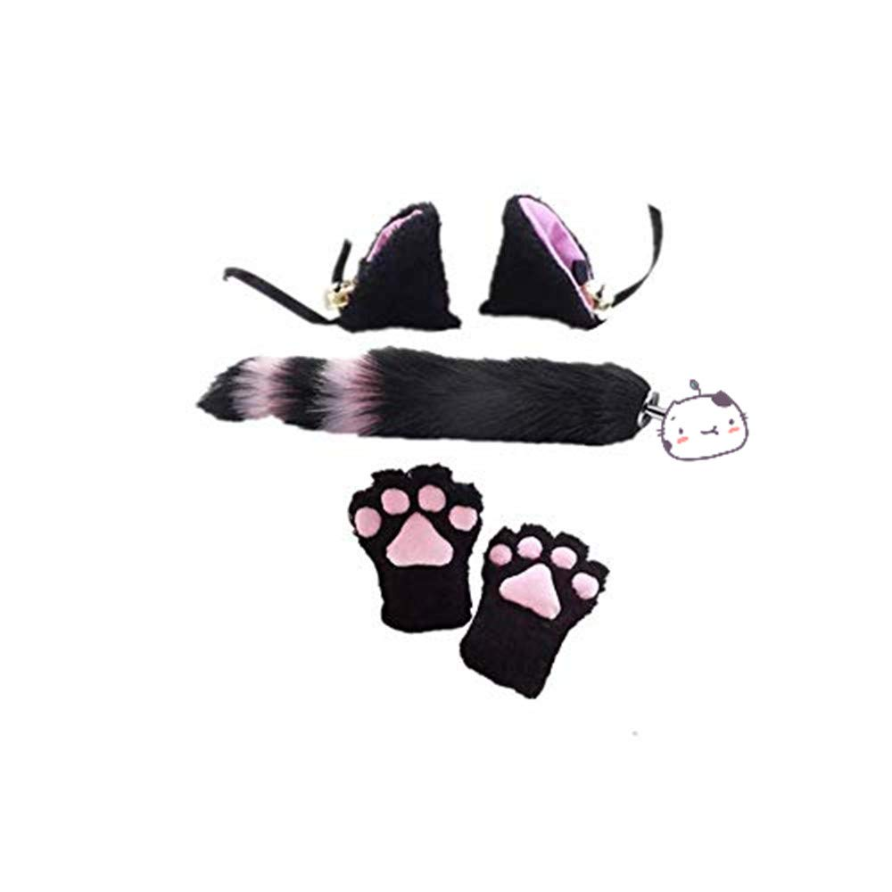 Fun Cat Cosplay Clothing Suit Ears Headband Plush Tail and Cat Claw (S, Pink and Black)