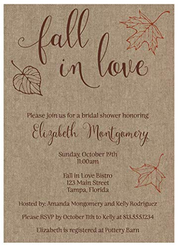 Autumn Bridal Shower Invitations Fall in Love Wedding Party Invites Burlap Brown Chocolate Leaves Gold Maple Rustic Personalized (10 Count) ()