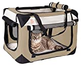 PetLuv Soothing Happy Cat Medium - Large Premium Soft Sided Cat Carrier & Travel Crate w Locking Zippers Plush Nap Pillow 4X Interior Room 4 Windows Sunroof Folds Flat Washable Reduces Anxiety