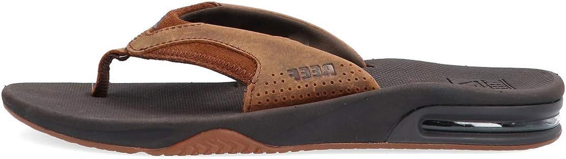 Reef Fanning Brown Leather Sandals Flip Flops Waterproof Bottle Opener Mens