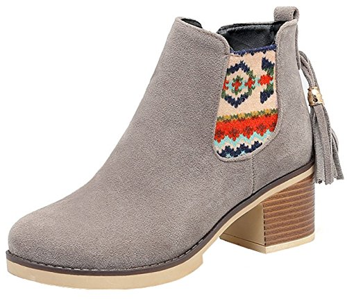 Suede Round Medium Side Short Booties Casual Stacked Ankle Heel Mofri Boots Gray Block Women's Faux Toe Zipper Fringes g1fxpwFq