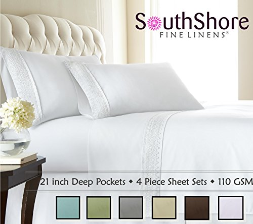 (Southshore Fine Linens 4-Piece 21 Inch Deep Pocket Sheet Set with Beautiful Lace - White - Queen)