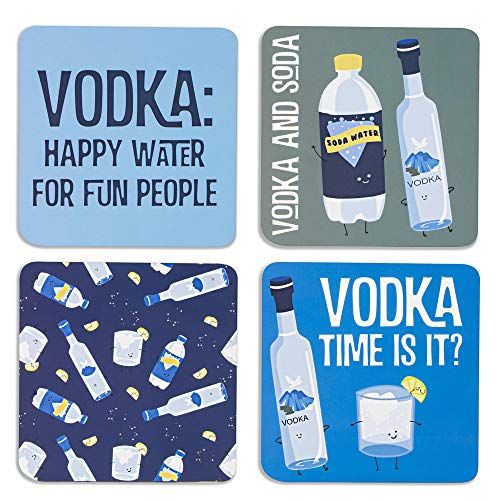 Pavilion Gift Company 74934 Vodka & Soda Sentiment, Pattern and Character Holder 4 (4 Piece) Coaster Set with Box, 4 Inch Square, Multicolor