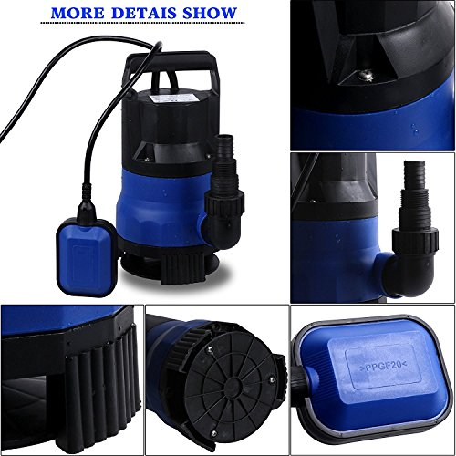 Professional 400W 1/2 HP Submersible Sump Pump 110V 2115GPH Energy Saving Clean Water Pump for Home, Swimming Pool Pond US STOCK (blue) by Dtemple (Image #5)