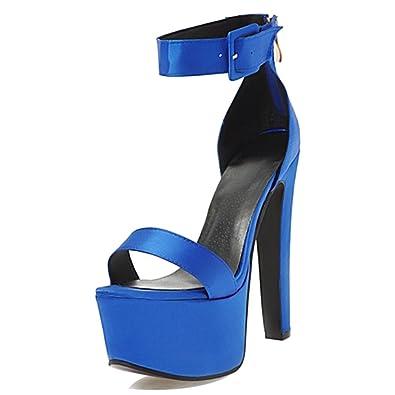 Onewus Mode Damen Plateau Sandalen mit Stileto Absatz Fesselriemen Schuhe  Sommer 9d96cfdb01