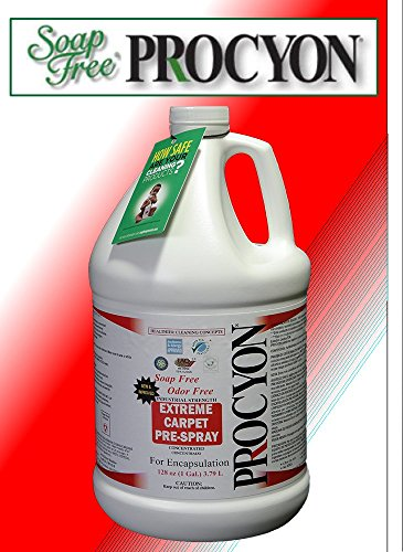 4 Each- 1 Case- 128 oz. Bottles - Soap Free PROCYON EXTREME! Carpet Pre - Spray Concentrate by Procyon