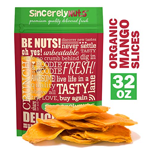 Sincerely Nuts Dried Organic Mango Slices (2 LB)- Gluten-Free Food, Vegan, and Kosher Snack-Nutritious and Satisfying Tropical Fruit-High in Vital Nutrients-Healthy Alternative for Sweet Tooth