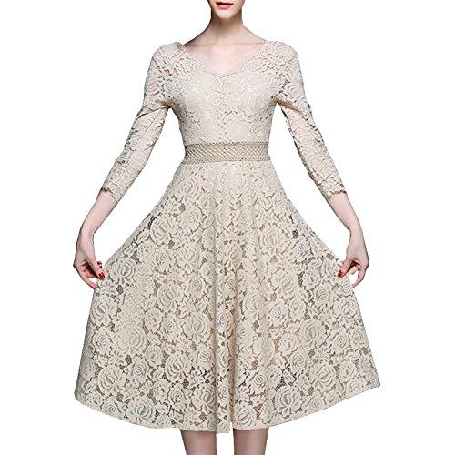 4 E Beige Reine A Midi Cocktailkleid Kleid Linie Hohl Damen Partykleid Arm YL61506 girl 3 Kleider Spitze tawqaBxrY