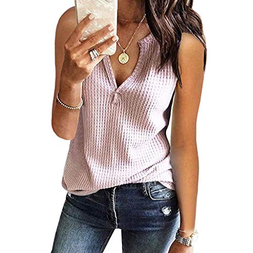 GHrcvdhw Womens Stylish V Neck Shirts Sleeveless Solid Waffle Knit Tanks Loose Fitting Tops Blouse Pink