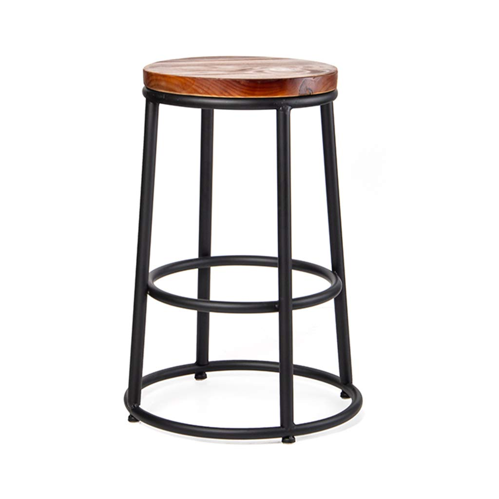 65CM Loft Retro Bar Stool, Industry Iron Art High Stool Reception Desk Stool Cafe High Stool Round Restaurant Dining Stool,65CM