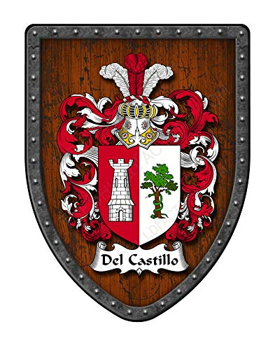 Del Castillo Family Crest Custom Coat of Arms, Family Ancestry and Heritage Hanging Metal Wall Plaque Shield - Hand Made in The USA