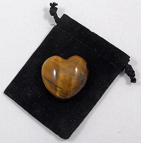 1 X 30mm Tiger Eye Puff Heart Worry Healing Stone