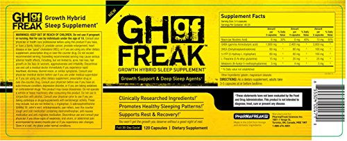 Pharmafreak GH Freak - Growth Hybrid Sleep Supplement - 120 Capsules - Top Rated Bodybuilding Recovery Supplement - Build Muscle and Recover Faster w/ Healthy Sleeping Patterns.