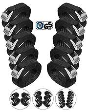 BB Sport Sjorband spanband bevestigingsband met klemgesp - zwart, beschikbaar in verschillende lengtes en hoeveelheden - draagvermogen tot 250 kg DIN EN 12195-2, 10 stucks 2.5 cm x 2.5 m