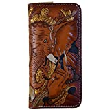 OLG.YAT Vegetable tanned leather Retro Genuine Leather Men's Wallets 20JGXS