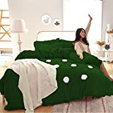 VR Textiles Premium Collection Round White Patchwork Style 4PC 15'' Velvet Bedding Set(1 Duvet Cover+2 Pillow Cover+1 Fitted Sheet) KING Dark Green