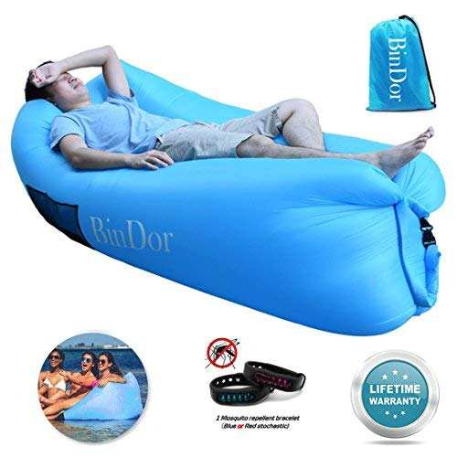 Bindor Inflatable Lounger Air Sofa Lounge Inflatable Hammock Sleeping Couch Pool Float Bag Chair Lazy Bed for Travelling, Camping, Hiking,Pool, Beach Parties