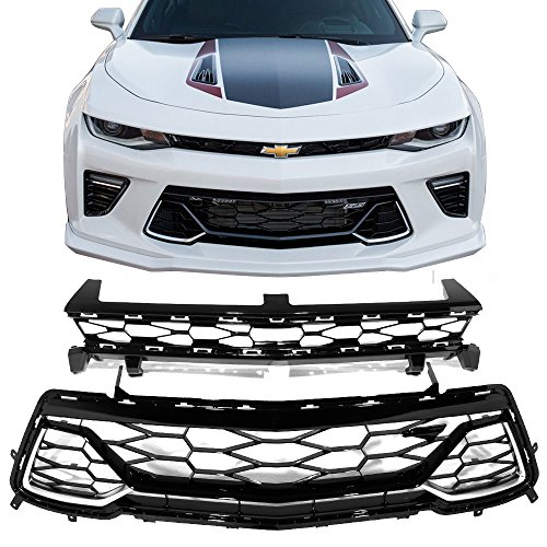 Grille Fits 2016-2019 Chevy Camaro | 50th Anniversary Front Upper + Lower Grill by IKON MOTORSPORTS | 2017 2018