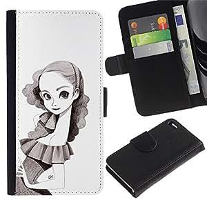 KingStore / Leather Etui en cuir / Apple Iphone 4 / 4S / Retrato de la niña del dibujo de lápiz de Big Eyes Flaco