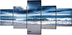 5 Panel Modern Canvas Wall Art Seascape Picture Full Moon Night Sea Pictures Canvas Prints with Frame,Blue Clear Ocean Seascape Giclee Artwork Wall Decor(50''Wx24''H)