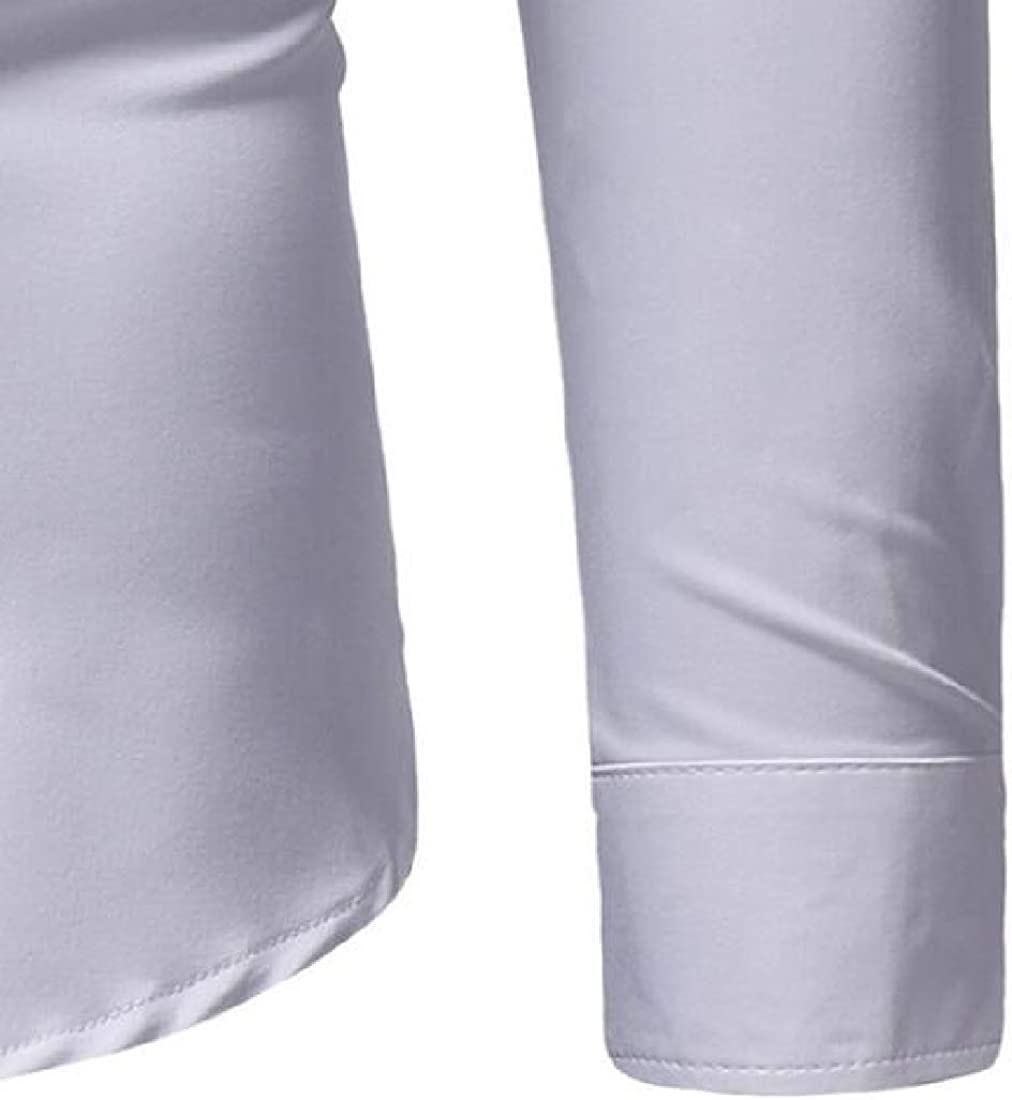 Spirio Mens Embroidery Long Sleeve Regular Fit Formal Button Up Dress Work Shirt