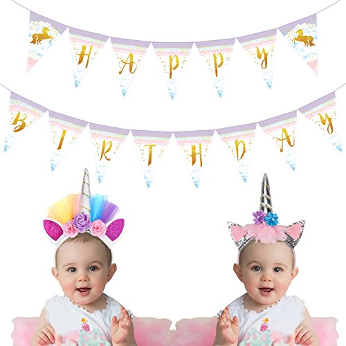 R Themed Party Costumes (Unicorn Rainbow Happy Birthday Banner Pennant Party Supplies Glitter Unicorn Horn Headband Flower Ears Hairband for Kids Girls Halloween Costume 3 Pcs)