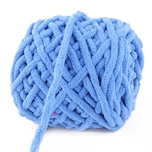 Amazon.com: eDealMax poliéster Familia arte de DIY mantón de la bufanda del suéter Tatting el hilado del cordón Azul 100g