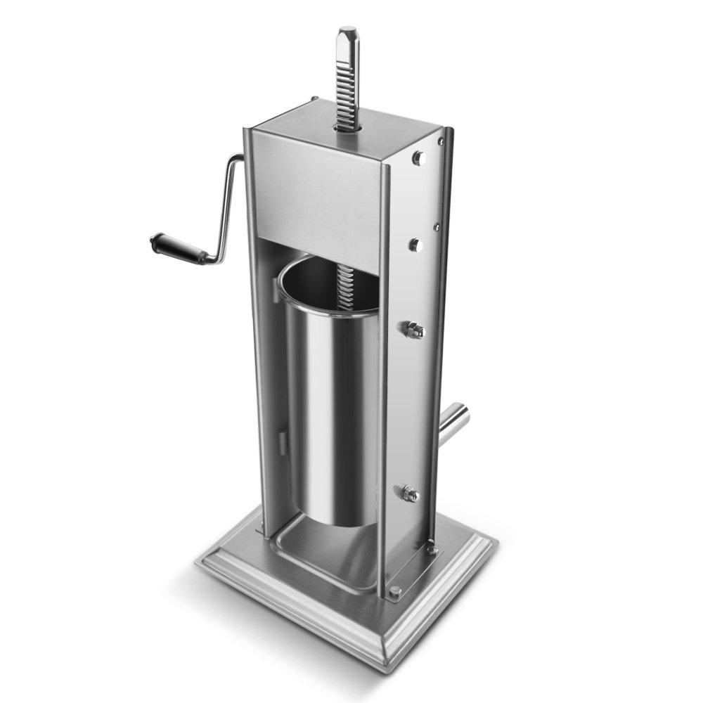Flexzion Sausage Stuffer Maker Grinder Filler - (5L) 15 Lb Vertical Stainless Steel Two Speed Homemade & Commercial Grade Hand Crank Meat Press Machine Equipment with 4 Stuffing Tube Attachment by Flexzion (Image #7)