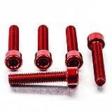 Aluminium Allen Bolt M8 x (1.25mm) x 30mm Pack x 5 Red