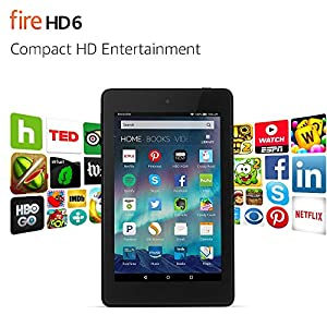 "Fire HD 6 Tablet, 6"" HD Display, Wi-Fi, 8 GB - Includes Special Offers, Black (Previous Generation - 4th)"