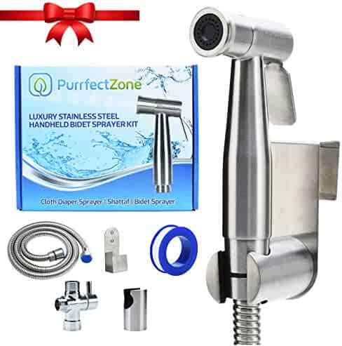 Purrfectzone Bidet Sprayer for Toilet, Cloth Diaper Sprayer, Toilet Sprayer (Brushed Nickel)